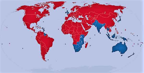 Map of left and right traffic in the world