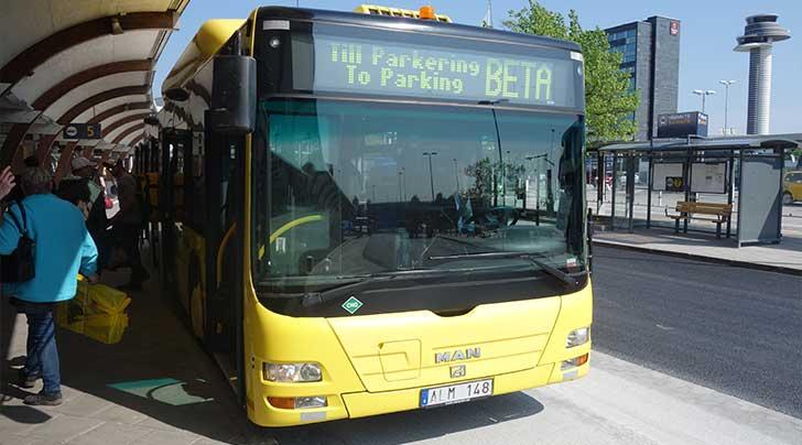 Buss till biluthyrning på Arlanda