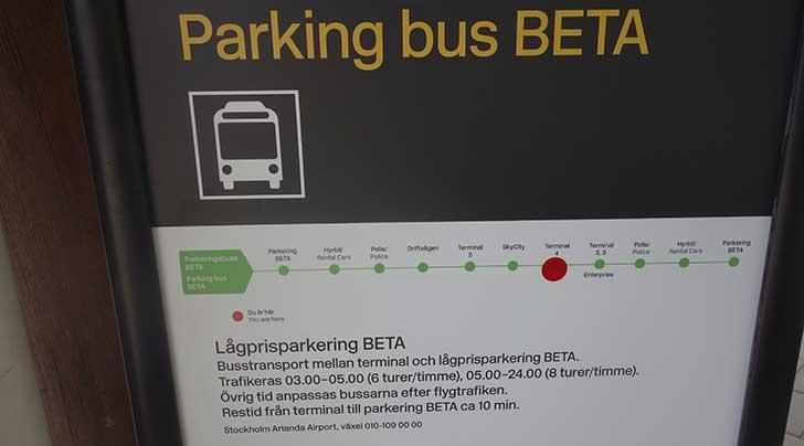 Buss Beta hållplatser på Arlanda i Stockholm